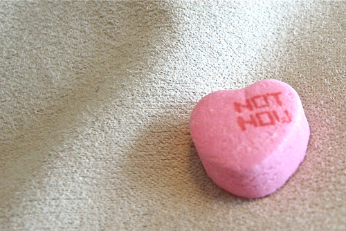 'Not Now' heart shape candy