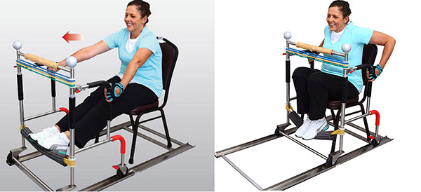 A Sitroll user demonstrates exercise by grasping both side handles and holding firmly. Both feet are placed on lower resistance bands, and the user then rolls forward and backward at a comfortable speed by pulling and pushing with the arms and legs.