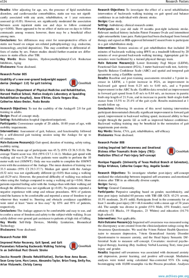 Poster] Improved Motor Recovery, Gait Speed, and Gait Parameters