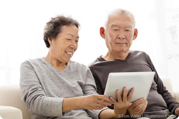 Senior couple tablet