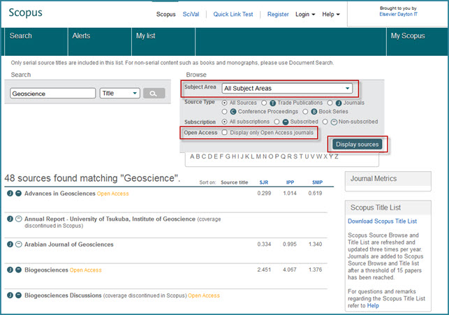 Options in 'Browse Sources' to search for open access journals