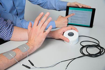 The Intento device is designed to enable patients to control the functional electronic stimulation that they receive, to help patients regain mobility in arms weakened by a stroke.