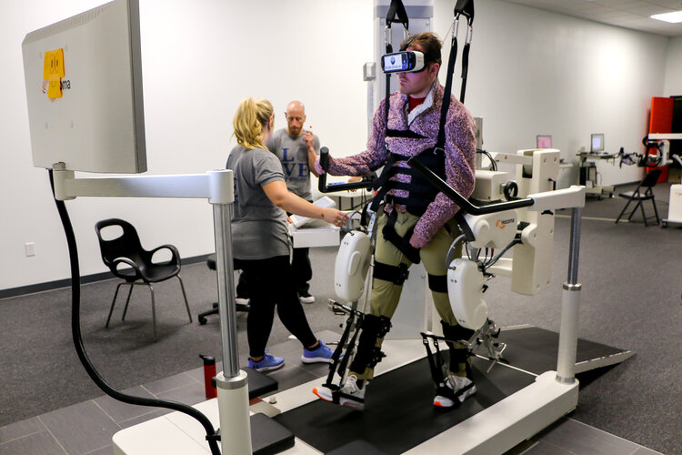 Virtual Reality used in conjunction with the gait trainers (Pictured: Lokomat).